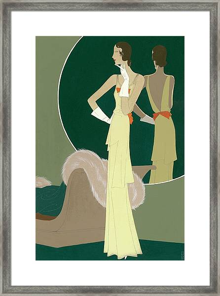 A Woman Wearing A Mainbocher Dress Framed Print