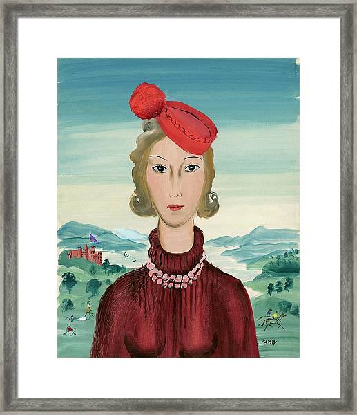 A Woman Wearing A Pillbox Hat Framed Print