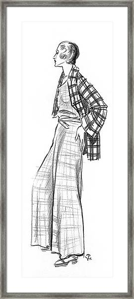 A Woman Wearing A Plaid Outfit Framed Print