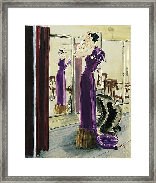 A Woman Wearing A Purple Augustabernard Evening Framed Print