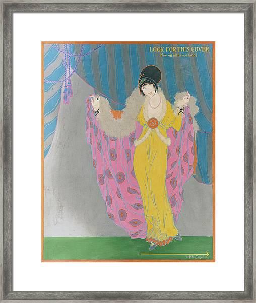 A Woman Wearing A Purple Cape Framed Print