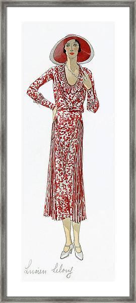A Woman Wearing A Red Dress By Lucien Lelong Framed Print
