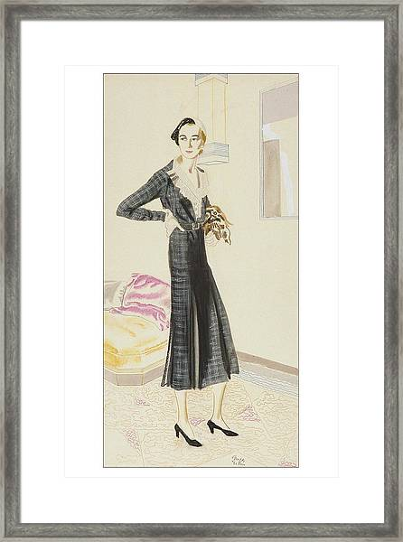 A Woman Wearing A Saks-fifth Avenue Suit Framed Print