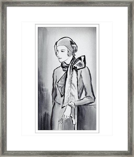 A Woman Wearing A Scarf Framed Print