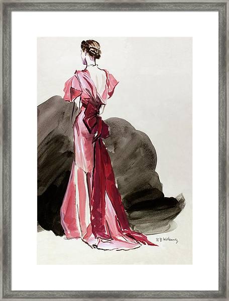 A Woman Wearing A Vionnet Dress Framed Print by Rene Bouet-Willaumez