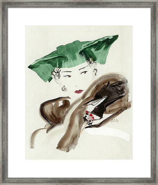 A Woman Wearing An Agnes Hat Framed Print by Rene Bouet-Willaumez
