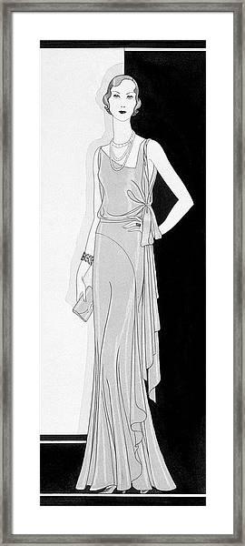 A Woman Wearing An Augustabernard Dress Framed Print