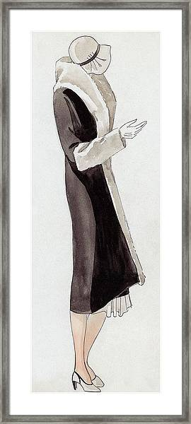 A Woman Wearing Black And White Framed Print