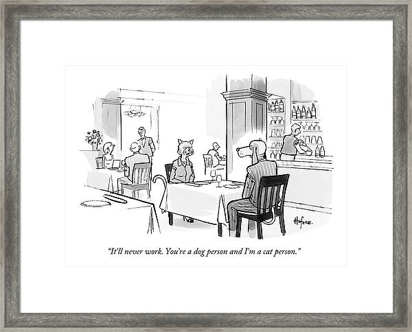 Dog Person And Cat Person Framed Print