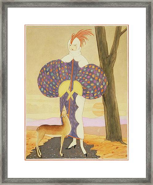 A Woman With A Deer Framed Print