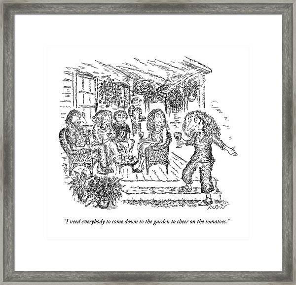 A Woman With A Glass Of Wine Is Standing Framed Print