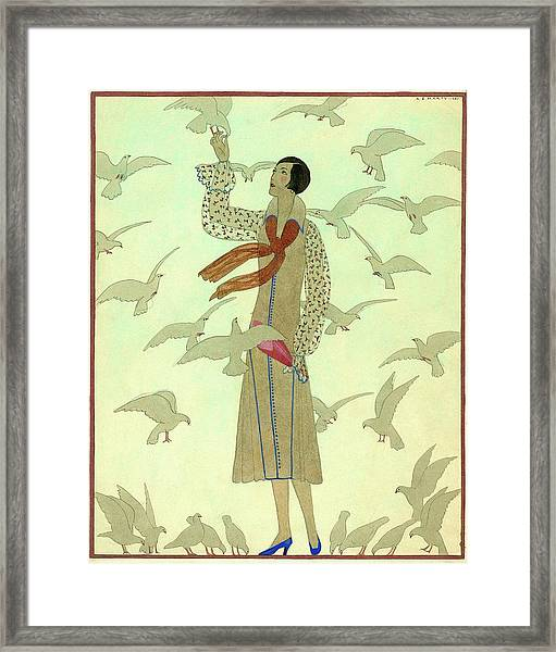 A Woman With Pigeons Framed Print by Andre E.  Marty