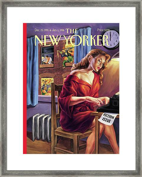A Woman Works On The Typewriter Framed Print