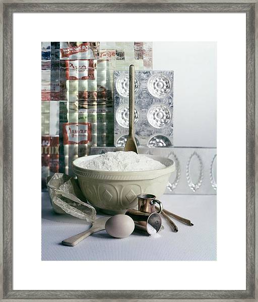 A Wooden Spoon In A Bowl Of Flour Framed Print