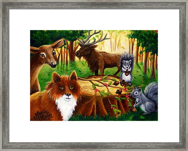 A Woodland Thanksgiving Framed Print