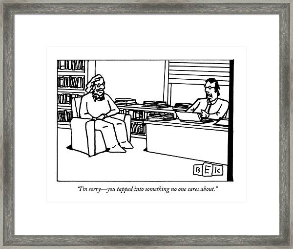 A Writer Pitches A Book To A Publisher Framed Print