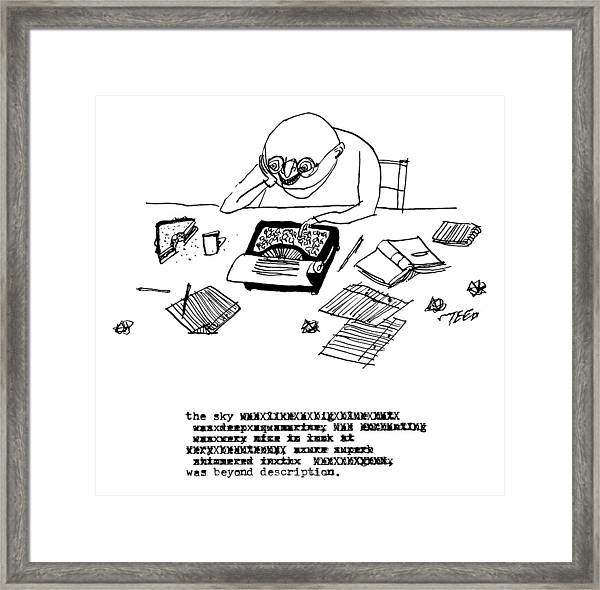 A Writer Relaxes Behind His Typewriter Framed Print