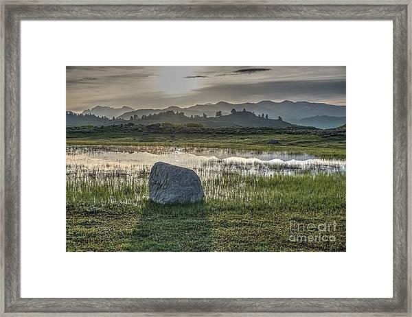 A Yellowstone Sunrise And Hazy Morning Ridges Framed Print