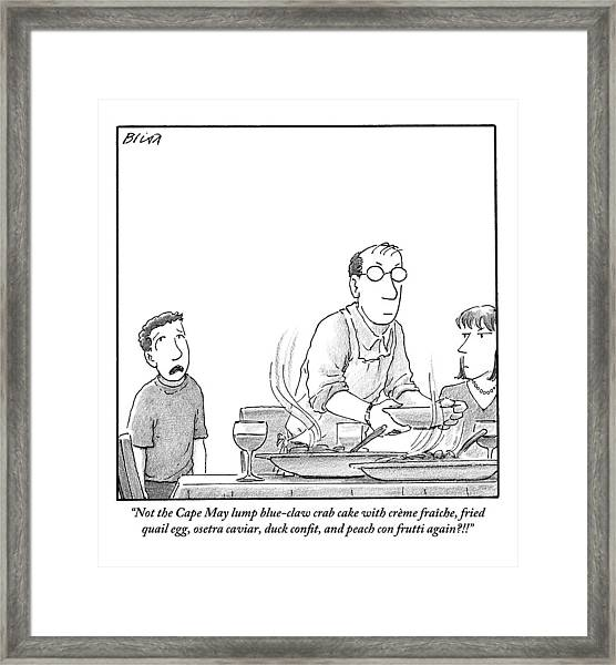 A Young Boy Complains About What's For Dinner Framed Print