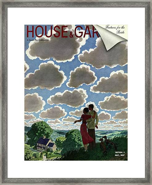 A Young Couple And Their Dogs On A Hilltop Framed Print