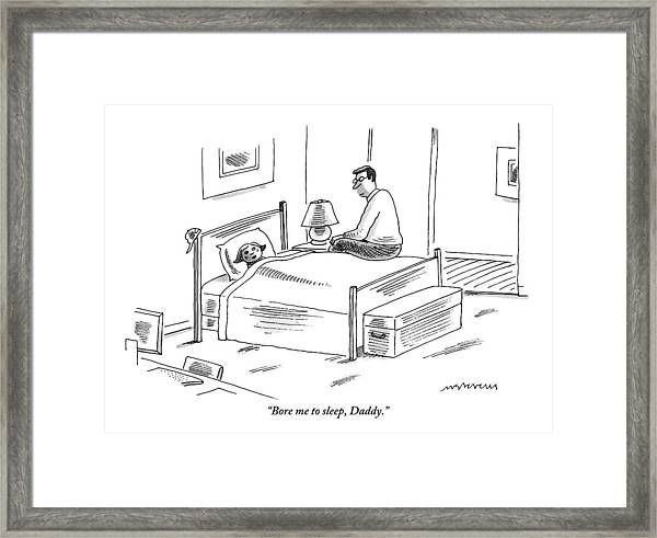 A Young Girl Tucked In Bed Talking To Her Father Framed Print