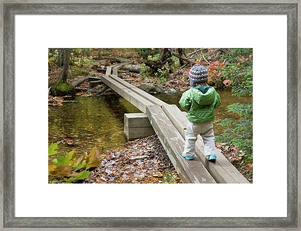 A Young Girl Walks Across Hiking Framed Print