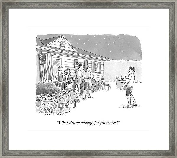 A Young  Man Carries A Box Of Fireworks Framed Print