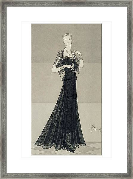 A Young Woman Wearing A Black Dress And Cape Framed Print