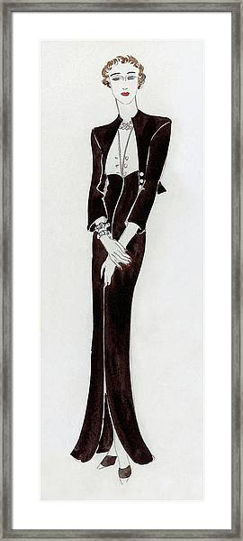 A Young Woman Wearing A Black Dress Framed Print