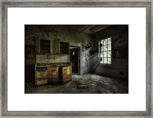 Abandoned Building - Old Asylum - Open Cabinet Doors Framed Print