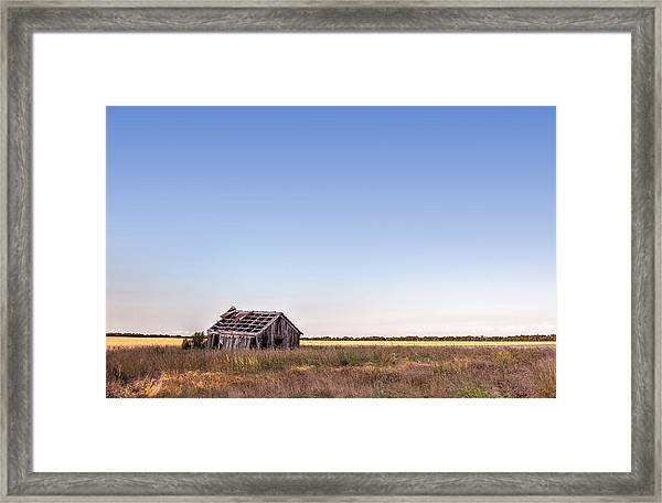 Abandoned Farmhouse In A Field Framed Print