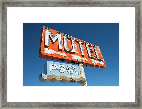 Abandoned Motel Sign At Yucca, Mohave Framed Print by Feifei Cui-paoluzzo