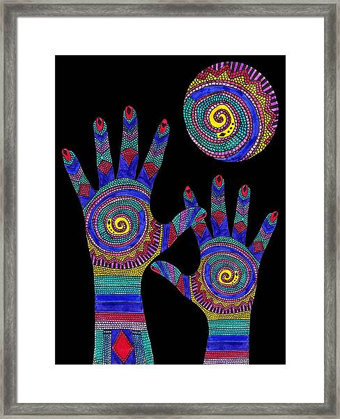 Aboriginal Hands To The Sun Framed Print