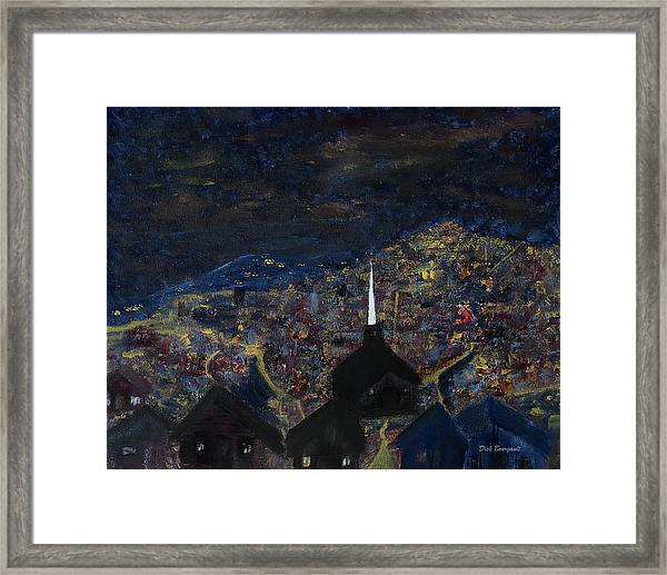 Above The City At Night Framed Print