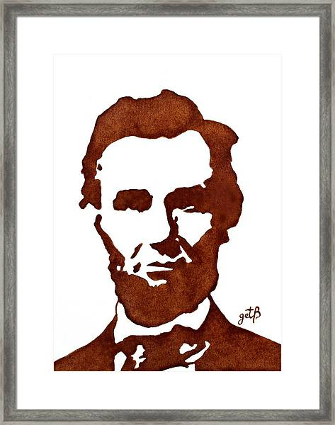 Abraham Lincoln Original Coffee Painting Framed Print