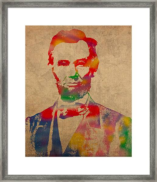 Abraham Lincoln Watercolor Portrait On Worn Distressed Canvas Framed Print