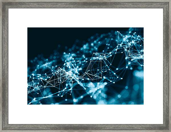 Abstract 3d Network In Future Framed Print by From2015
