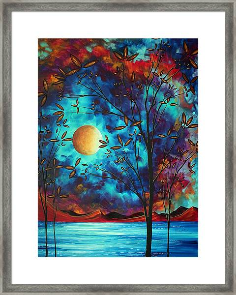 Abstract Art Landscape Tree Blossoms Sea Moon Painting Visionary Delight By Madart Framed Print