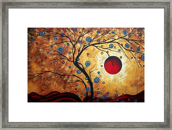 Abstract Art Landscape Tree Metallic Gold Texture Painting Free As The Wind By Madart Framed Print