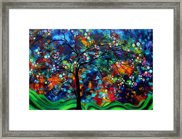 Abstract Art Original Landscape Painting Bold Colorful Design Shimmer In The Sky By Madart Framed Print