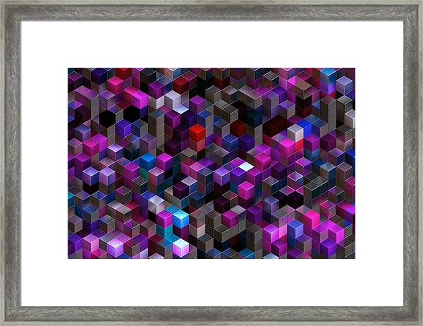 Abstract Background Of Multi-colored Cubes Framed Print by Oxygen