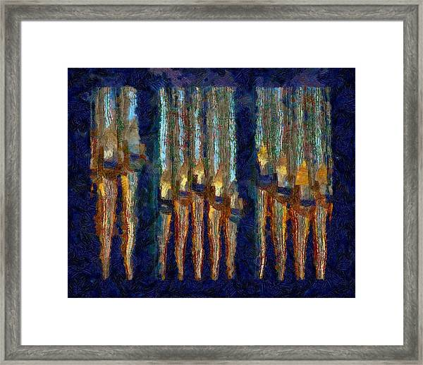 Abstract Blue And Gold Organ Pipes Framed Print