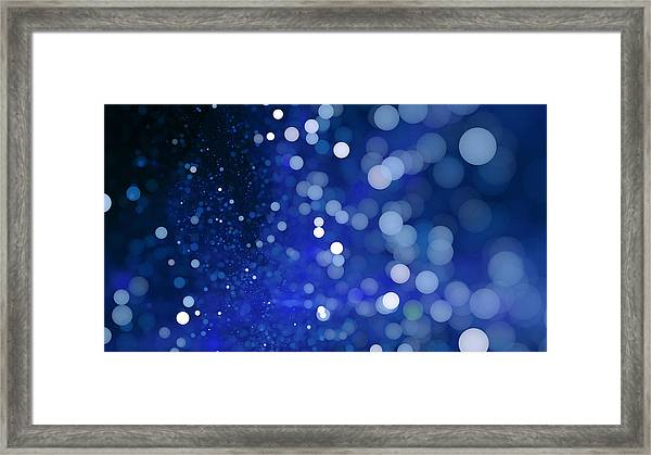 Abstract Blue Bokeh Sparkling Spray Circle Framed Print by Oxygen