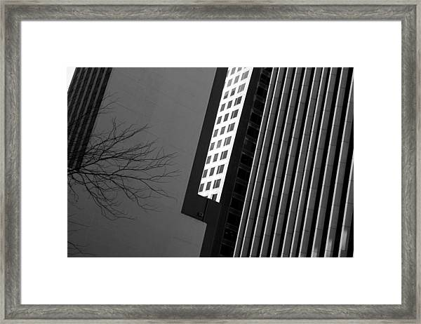 Abstract Building Patterns Black White Framed Print