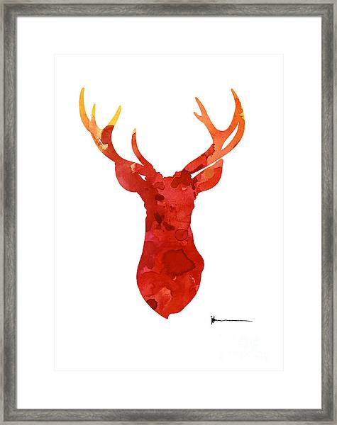 Abstract Deer Antlers Silhouette Watercolor Paintng Framed Print
