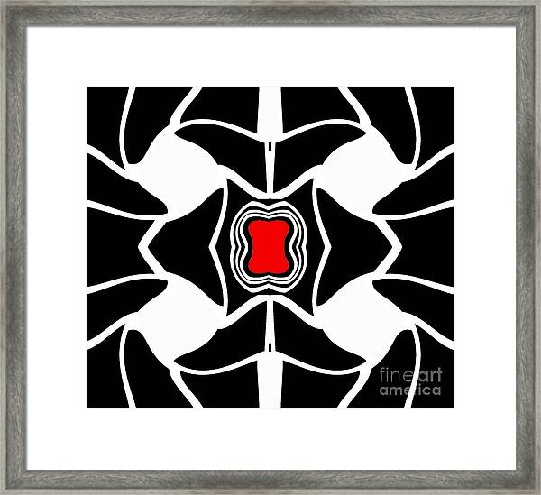 Abstract Geometric Black White Red Art No.381. Framed Print by Drinka Mercep