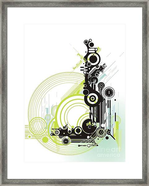 Abstract  Grunge & Tech Background Framed Print