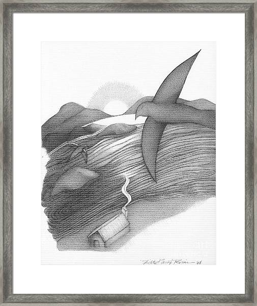Abstract Landscape Art Black And White Birds Flight Of Fancy By Romi Framed Print