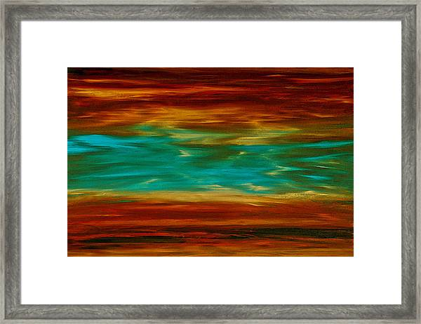 Abstract Landscape Art - Fire Over Copper Lake - By Sharon Cummings Framed Print