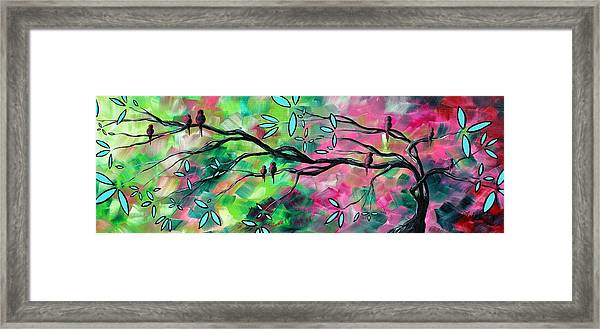 Abstract Landscape Bird And Blossoms Original Painting Birds Delight By Madart Framed Print by Megan Duncanson